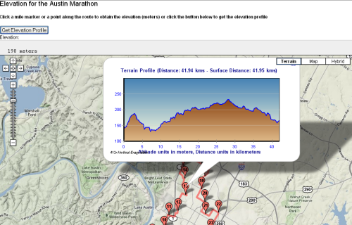 Austin Marathon Mashup With Google Maps USGS Elevation Data And - How to determine elevation on google maps